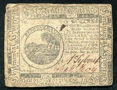 Cc-36 May 9, 1776 $6 Six Dollars Continental Currency Note
