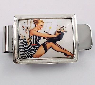 ENAMEL 1940's STYLE EROTIC PIN UP GIRL MONEY  CLIP 925 SOLID STERLING SILVER
