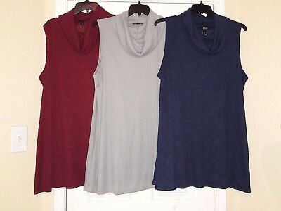 NWT~ANA * COWL NECK TUNIC * A-LINE LAYERING TOP * WINE, GREY or BLUE Sz 1X & 3X