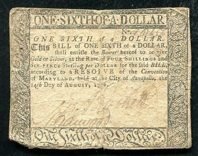 Md-92 Maryland August 14, 1776 $1/6 One Sixth Dollar Colonial Currency