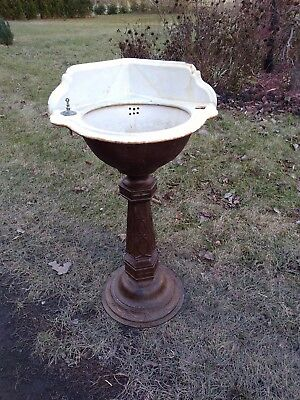 antique cast iron Victorian corner sink on pedestal,J L Mott,nice original
