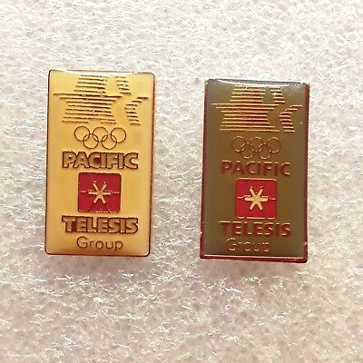 Lot of 2 1984 LOS ANGELES Olympic Games PACIFIC TELESIS GROUP Sponsor PINS EUC