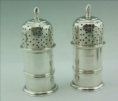 A Pair Of Substantial English Silver Lighthouse Pepper Pots 1913