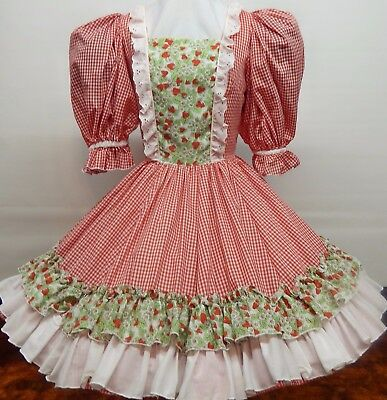 Red And White Check Strawberry Patch Square Dance Dress