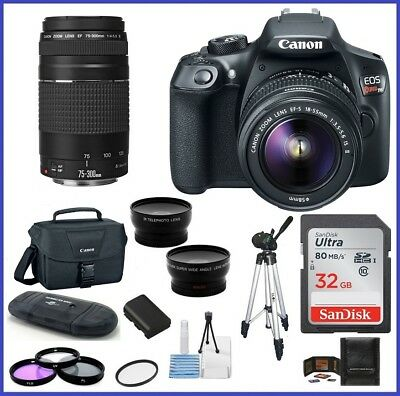 Canon  EOS Rebel T6 DSLR Camera with 18-55mm + 75-300mm Lenses PRO BUNDLE