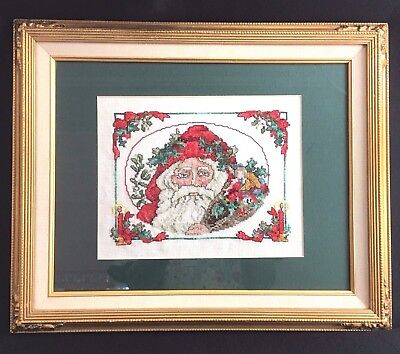 Christmas Completed Counted Cross Stitch Santa Clause Face Holly Candle Framed