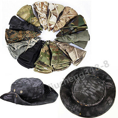 Men Hunting Hat Tactical Camouflage Twill Chin Cord Medium for Outdoor Activity
