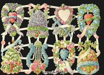 German Embossed Vintage Style Scrap Die Cut Relief - Valentine Flowers EF7416