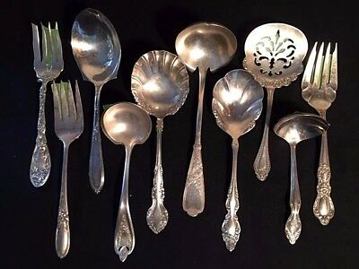 Lot of 10 Mixed Vintage Silverplate Flatware SERVING PIECES! -- Gifts, Parties!