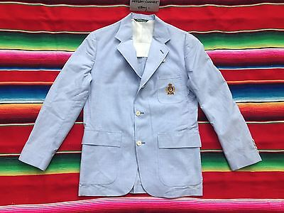 VTG Ralph Lauren POLO chambray crest blazer coat boys 18 R 80s 90s NWT USA