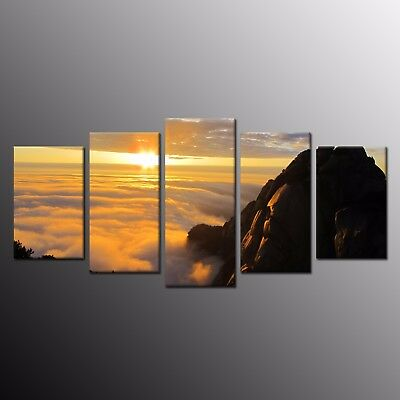 Modern Canvas Prints Ocean SunRise Painting Picture Home Decor Wall Art 5pcs
