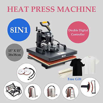 "15"" X 15"" Heat Press 360 Degree Swivel Heat Press Machine 8 in 1"
