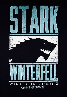 Game Of Thrones STARK WINTERFELL Licensed T-Shirt Black & Blue NEW  XL or 2X
