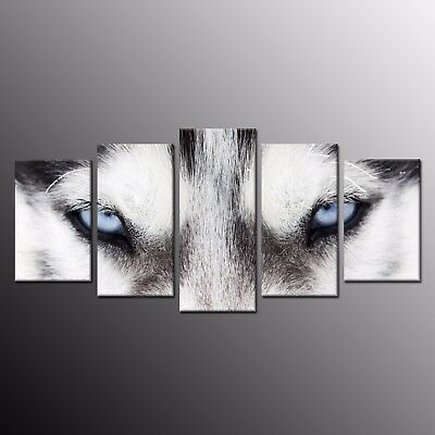 Animals Home Decor Canvas Print Painting Wall Art Wolf Wolves Eyes Picture 5pcs