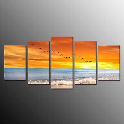 5 Pieces Canvas Prints Painting Picture Bird Red Cloud Ocean Wall Art Home Decor