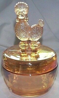 Jeannette Glass Co. Marigold Iridescent Fifi Poodle Dog Covered Powder Jar Dish!