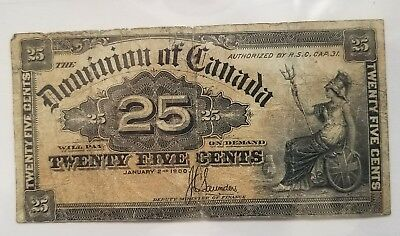1900 Dominion Of Canada 25 Cents Fractional Currency Note