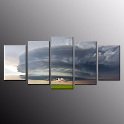 HD Canvas Prints Painting Picture Dark clouds cover Wall Art Home Decor 5pcs