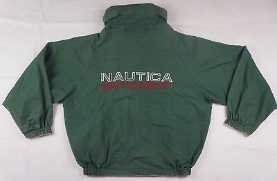 Rare Vintage NAUTICA SPORT Spell Out Reversible Sailing Hidden Hood Jacket 90s S