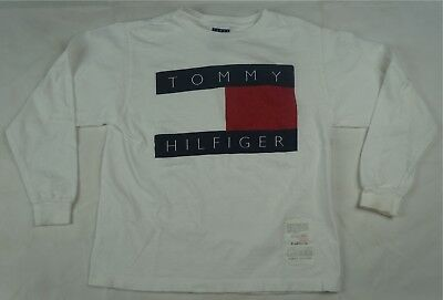 Rare Vintage TOMMY HILFIGER Flag Box Spell Out Logo LS T Shirt 90s Toddler SZ 7