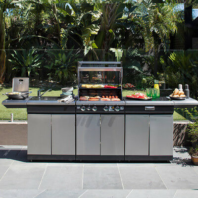 Gasmate Nero 5 Burner BBQ Outdoor Kitchen Stainless Barbecue with Storage - NEW