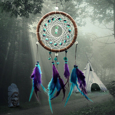 Dream Catcher With Feathers Wall Car Hanging Decoration Turquoise Beads Ornament