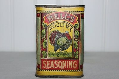 Big Colorful Antiq Bell's Turkey Seasoning Bell Trademark Cardboard Lithographed