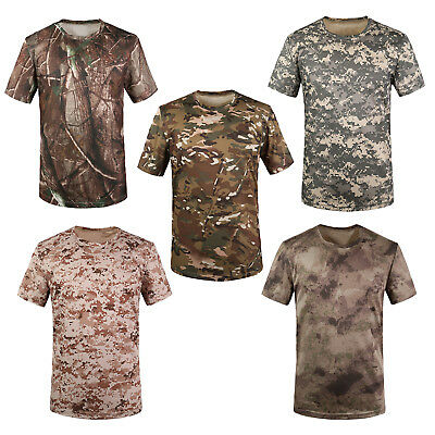 New Outdoor Hunting Camouflage T-shirt Men Breathable Army Tactical Combat S4Z7