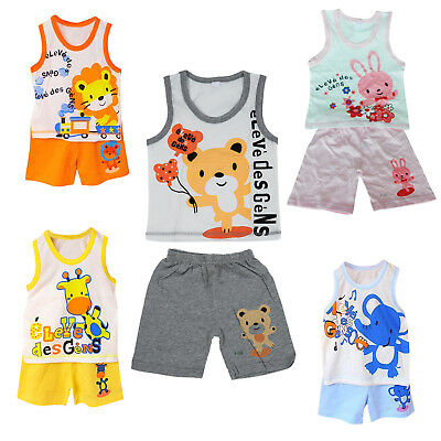 Baby Kids Clothes Set,Girls Boys T shirt+Pants Undershirt Shorts Pajama Set T7I4