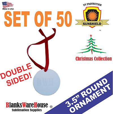 "3.5."" round, CHRISTMAS ORNAMENT-  DOUBLE SIDED, SUBLIMATION BLANKS -  50 Pieces"