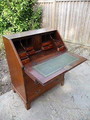 Georgian Antique Oak Bureau with Leather Writing Desk (19C)