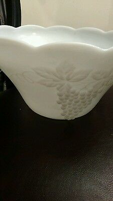 Vintage White Milk Glass Punch Bowl Set 1995 Picclick