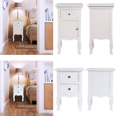 Bedroom Bedside Tables Cabinet with Drawers & Cupboard Nightstand Table Unit