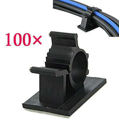 100 Pcs Black Adhesive Backed Nylon Wire Adjustable Cable Clips Clamps Line Tie