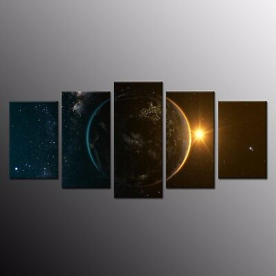 Modern Canvas Print Planet Sunrise Wall Art Canvas Painting Home Decor 5pcs