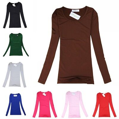 Women Plain Basic Crew Neck Cotton Top Long Sleeve Shirt Stretch Tight Solid Tee