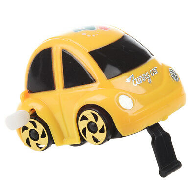 Yellow Plastic Wind-up Clockwork Racing Car Toy for Children Q4N3