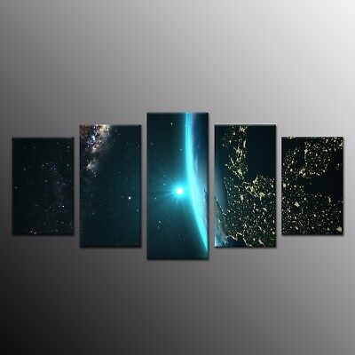 Hd Canvas Print Painting Wall Art Night Planet Earth Space