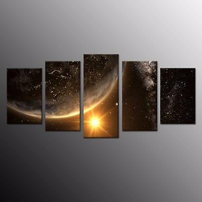 Canvas Print Painting Picture Wall Art Home Decor Planet Earth Space Star 5pcs