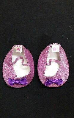 Bear Boutique Pink Glitter Bear Shoes With Purple Bow (Size 9Cm Length)