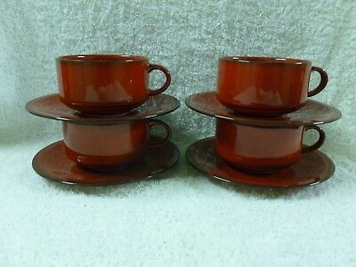 Set of 4 x Villeroy & Boch GRANADA Vitro Porcelaine Red Cups and Saucers