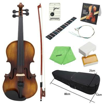 ammoon Acoustic Violin 4/4 Full Size Spruce Vintage Matte Finish with Case T1M8
