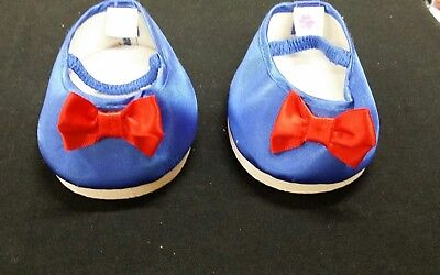Bear Boutique Blue Satin Bear Shoes With Red Bow (Size 9Cm Length)