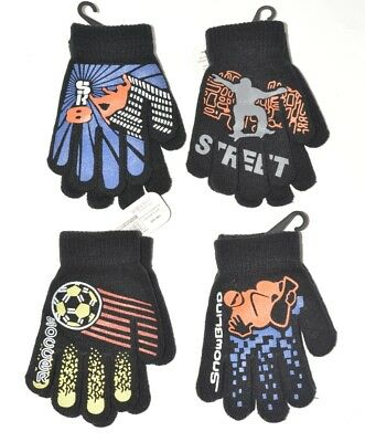 BNWT Boys Black Football Snowboarding Skater Magic Gripper Gloves One Size A29