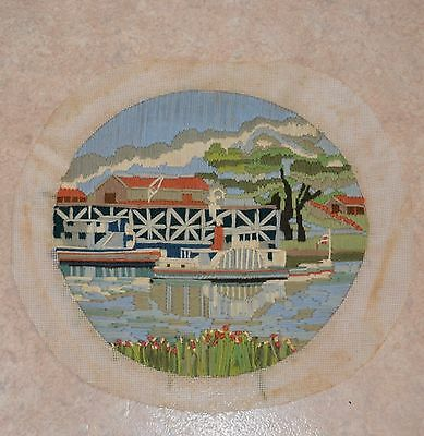 Vintage Ferry Wharf Pier Completed Tapestry Canvas Longstitch Image = 29x27cm