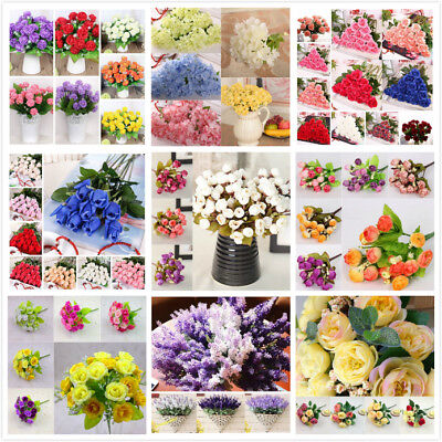 AU Artificial Rose Flowers Silk Bouquet Bridal Home Wedding Party Vase Decor DIY