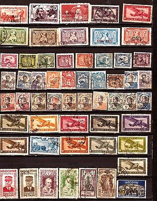 ZY205 INDOCHINE  55 timbres faciale en FR.Statues,emblemes,avions,personnages