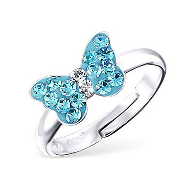 Girls Sterling Silver Blue Crystal Butterfly Ring Adjustable Children 925