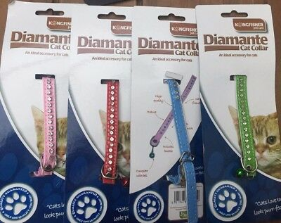 Soft Leather Cat Kitten Collar Diamante Stones Safety Elastic Elasticated Bell