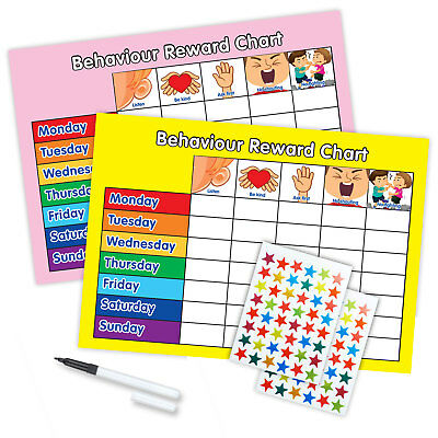 MAGNETIC BEHAVIOUR REWARD REWARD CHART WITH PEN & STAR STICKERS - Pink/Yellow